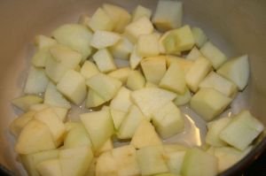 Cut up apples